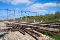 La partie utilisée du chemin de fer et du site réparé Photo libre de droits