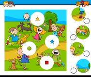 La partita collega il puzzle con i bambini e gli animali domestici Fotografie Stock