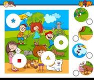 La partita collega il puzzle con i bambini e gli animali domestici Fotografia Stock Libera da Diritti