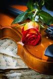 La partitura del violín y subió Fotos de archivo libres de regalías