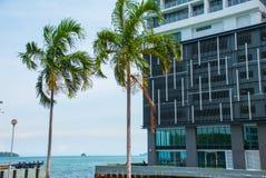 La passeggiata centrale con una casa e le palme con una vista di nanometro è tagliente ed il mare Kota Kinabalu, Sabah, Malesia Fotografia Stock Libera da Diritti