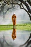 La passeggiata del monaco buddista riceve l'alimento di mattina Fotografia Stock