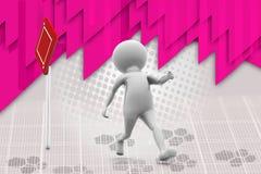 la passeggiata dell'uomo 3d digiuna illustrazione Immagine Stock Libera da Diritti