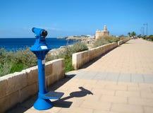 La passeggiata della spiaggia in Ciutadella, Menorca Immagini Stock Libere da Diritti