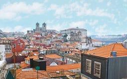 La passeggiata a vecchia Oporto Fotografia Stock