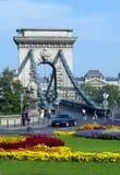 La passerelle à chaînes à Budapest Photographie stock libre de droits