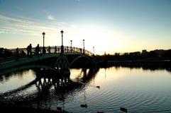 La passerelle au coucher du soleil Image libre de droits