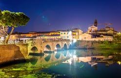 La passerelle de Tiberius à Rimini Images libres de droits