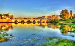 La passerelle de Tiberius à Rimini Photo stock