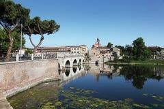 La passerelle de Tiberius. Rimini, Italie Image stock
