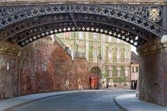 La passerelle des menteurs à Sibiu, Transylvanie, Roumanie Photographie stock