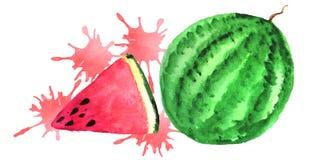 La pastèque et une tranche de pastèque avec juteux éclabousse illustration libre de droits