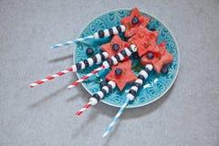 La pastèque fraîche tient le premier rôle le dessert Photographie stock libre de droits
