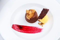 La pasta de azúcar del chocolate con helado del limón y la frambuesa sauce fotografía de archivo libre de regalías