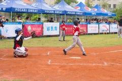 La pastella ha colpito il bal l e la palla ha rimbalzato su Fotografia Stock