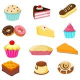 La pasticceria, le torte ed i prodotti della farina vector l'immagine di riserva Fotografia Stock