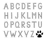 La pata imprime alfabeto Foto de archivo libre de regalías