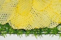 La patata collega su una fotografia bianca del fondo della tavola Fotografie Stock Libere da Diritti