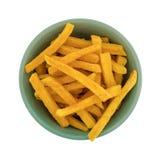 La patata dulce fríe en una opinión superior del cuenco Imágenes de archivo libres de regalías