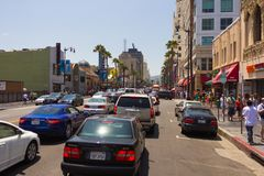 La patience sur Hollywood Boulevard Image libre de droits