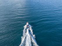 La patrulla del mar de la nave del barco de motor del guardia de seguridad de la costa del rescate aisló v fotografía de archivo