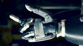 La paume artificielle déplace les doigts, concept d'avenir clips vidéos