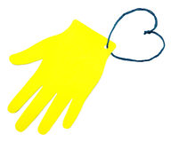 La paume du papier jaune Photo libre de droits