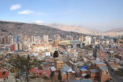La Paz. The actual capital of Bolivia, where most of the state institutions and the residence of the President of the country, although the constitutional Royalty Free Stock Photography