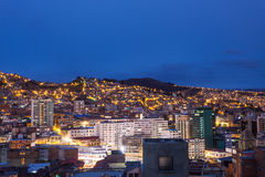 La Paz. Aerial view at night.  is the worlds highest capital stock photography