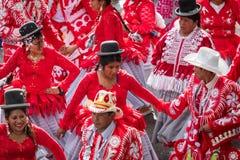 LA PAZ, BOLÍVIA - 11 DE FEVEREIRO DE 2018: Dançarinos no La Paz Carnival imagens de stock royalty free