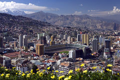 La Paz - Bolivia. The city of La Paz in Bolivia with the Andes Mountains in the background. Viewed from Mirador Kilikili stock photo
