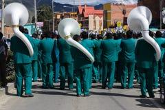 La Paz Bolivia de Mallasa - 2 de fevereiro de 2014: Banda com wh Foto de Stock Royalty Free