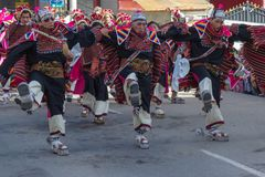 La Paz Bolivia de Mallasa - 2 de fevereiro de 2014: Vestido tradicionalmente Fotografia de Stock Royalty Free