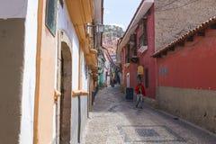 LA PAZ, BOLIVIA DEC 2018: Jaen Street in La Paz, Bolivia city center royalty free stock image