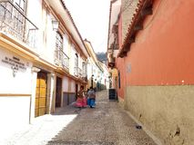 LA PAZ, BOLIVIA, DEC 2018: La Paz, Bolivia streets in city center. On a bright summer day royalty free stock images
