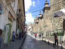 LA PAZ, BOLIVIA, DEC 2018: La Paz, Bolivia streets in city center. On a bright summer day royalty free stock photos