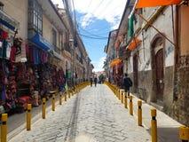 LA PAZ, BOLIVIA, DEC 2018: La Paz, Bolivia streets in city center. On a bright summer day stock images