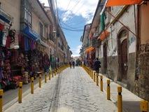LA PAZ, BOLIVIA, DEC 2018: La Paz, Bolivia streets in city center. On a bright summer day stock image