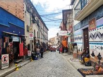 LA PAZ, BOLIVIA, DEC 2018: La Paz, Bolivia streets in city center. On a bright summer day royalty free stock photo