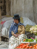LA PAZ, BOLIVIA - January, 10: Cholita in the street of La Paz o Stock Photo