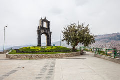 La Paz, Bolivia. Monument at the Killi Killi Mirador in La Paz, Bolivia stock image