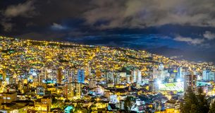 La Paz, Bolivia. A Panorama view at nicht over La Paz, Bolivia Stock Photography
