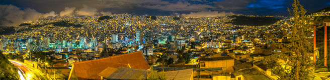 La Paz, Bolivia. A Panorama view at nicht over La Paz, Bolivia royalty free stock image