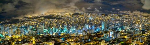 La Paz, Bolivia. A Panorama view at nicht over La Paz, Bolivia royalty free stock image