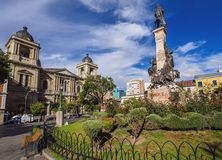 La Paz in Bolivia. Plaza Murillo with Cathedral Basilica of Our Lady of Peace, La Paz, Bolivia stock image