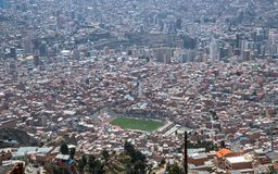 Viev stadium is Estadio Libertador Simon Bolivar in La Paz, Bolivia stock photo