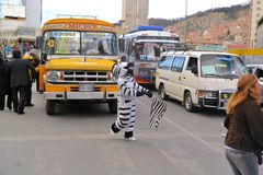 In La Paz, Bolivia workers dressed as Zebras teach Royalty Free Stock Images