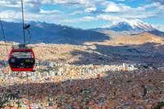 La Paz Cable Car. LA PAZ, BOLIVIA - AUGUST 10: Cable cars carry passengers between the cities of El Alto and La Paz in Bolivia on August 10, 2014 stock photography