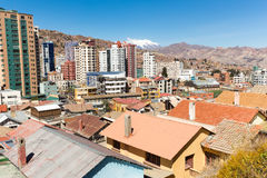 La Paz city Illimani mountain peak cityscape panorama view. Stock Images