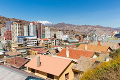 La Paz city Illimani mountain peak cityscape panorama view. Royalty Free Stock Images